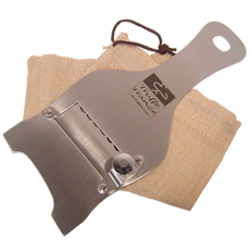 Stainless steel truffle mandoline with a canvas bag