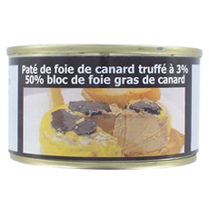 Truffled duck liver paté (3% truffles) - 50% block of duck foie gras 130 g